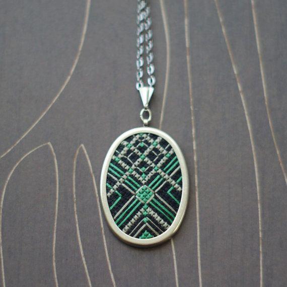 Art Deco modern cross stitch necklace/ pendant by TheWerkShoppe, $48.00