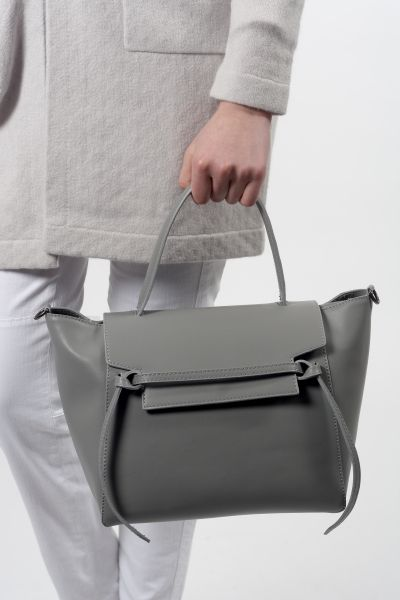 Basics by bam und bini, klass. Ledertasche in grau