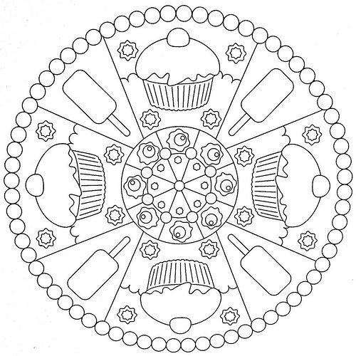 Mandala Coloring Page - Cakes