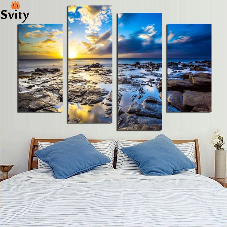 4 rectangular digital picture coastal home decor canvas art hanging free shipping (frameless F) 1830