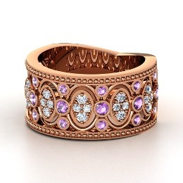 Renaissance Band, Rose Gold Ring with Amethyst