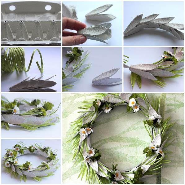 Egg Carton Craft - Easter Wreath 3