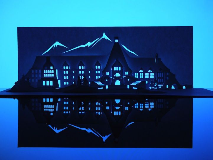 Famous Haunted Houses Created From a Single Sheet of Paper by Marc Hagan-Guirey  (the shining)