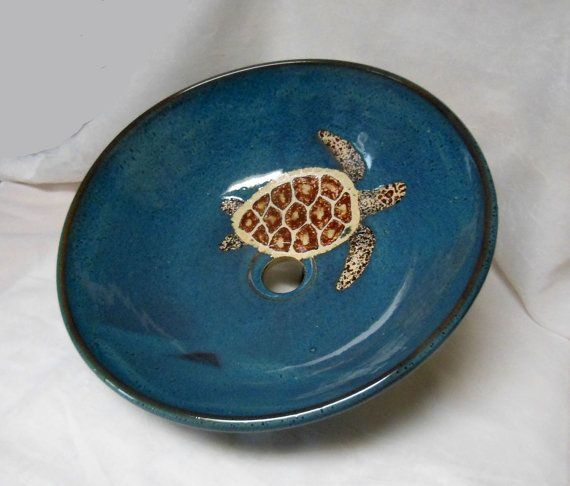 Sea Turtle Vessel Sink by RikaBluePottery on Etsy, $425.00