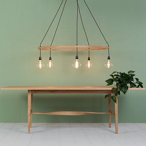 Buy Tom Raffield Kern Hoop Pendant Ceiling Light, 5 Light, Oak, 60cm Online at johnlewis.com