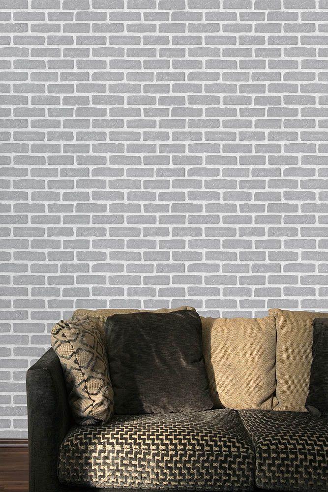 Chicago-Papier peint briques grises très réaliste pour une décoration murale originale de votre espace intérieur. #briques #chicago #gris #salon.
