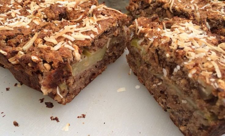 Apple, Banana and Pecan Slice gluten free rice puffs almond meal golden syrup bananas organic peanut butter GF flour cinnamon coconut oil small green apple pecans chopped in quarters.