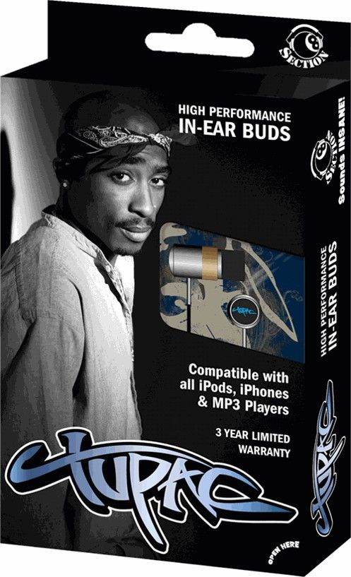 Tupac Shakur Ear Buds - Don't miss a beat with these Tupac Shakur Ear Buds with high quality sound and compatible with all devices.