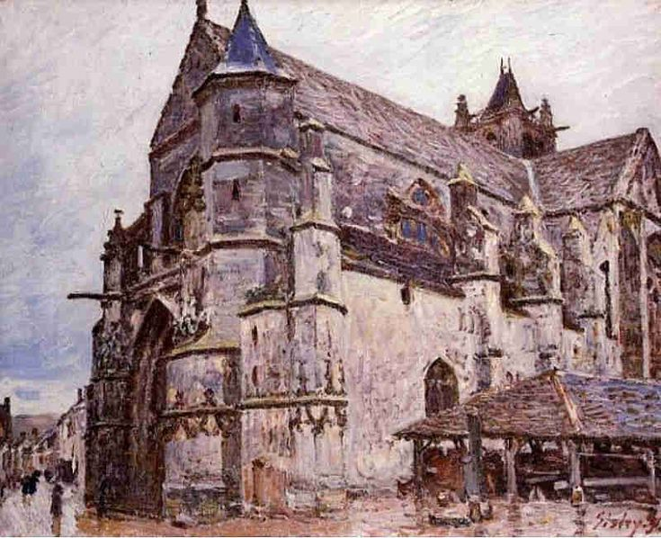 The church of Moret-sur-Loing, rainy morning by Alfred Sisley