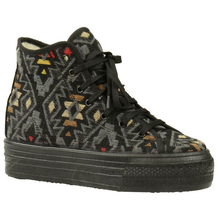 Zwarte platform sneakers aztec