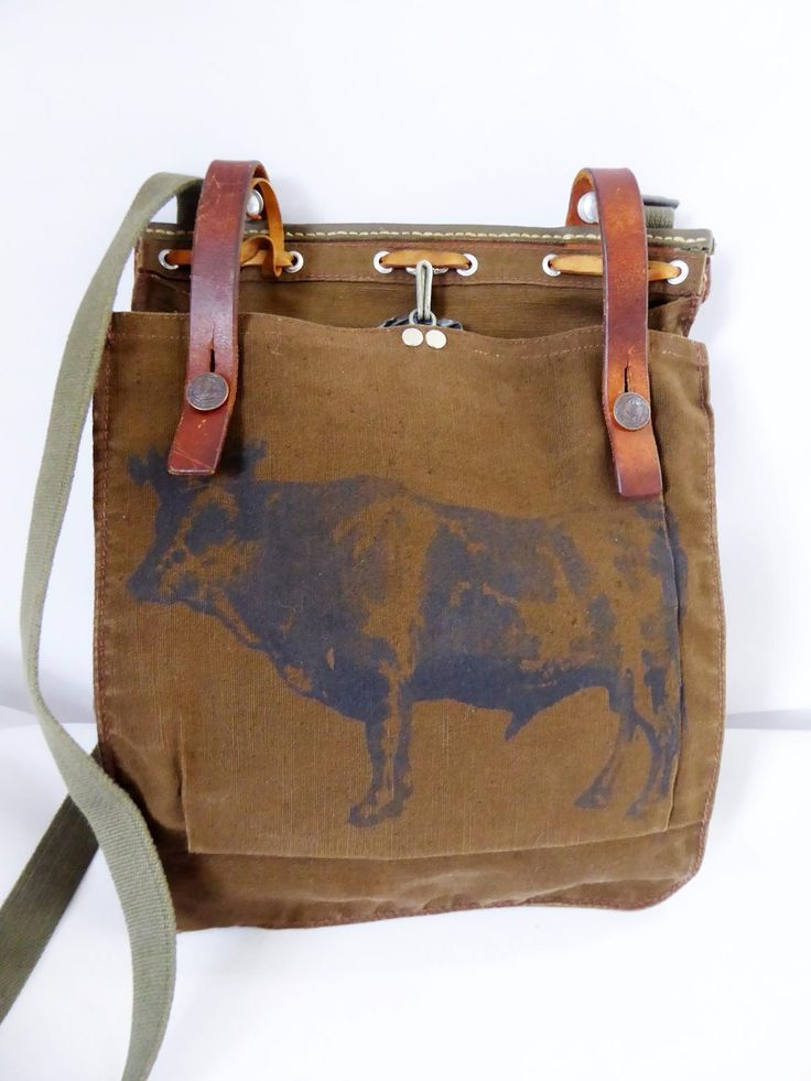 Upcycled vintage Swiss Army bread bag