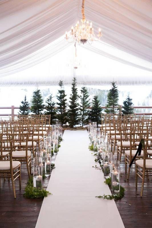 winter wedding ideas white wedding decor with christmas trees