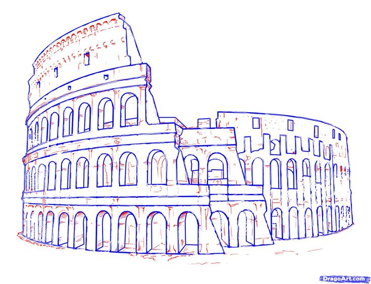 How to Draw the Colosseum, Step by Step, Famous Places, Landmarks ...