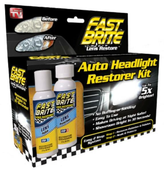Fast Brite™ Lens Cleaner restores car headlight lens that have become cloudy and dimmed the headlights to a level that can be dangerous by cutting down on the amount of light illuminating the road. Fast Brite™ Lens Restore returns the showroom shine to your dull, hazy, yellowing headlights in seconds.  Shop now…