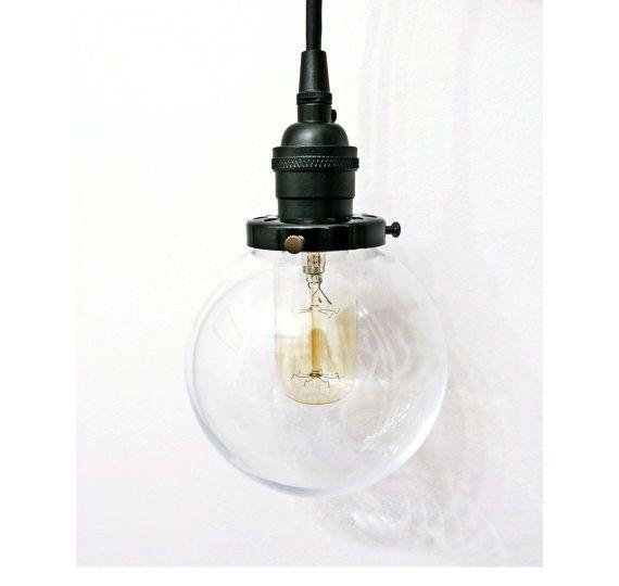 Black Glass Ball Globe Pendant Light Lamp Steampunk