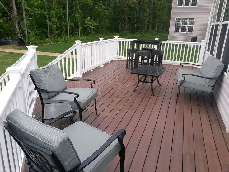 Fiberon protect chestnut deck w white vinyl railing for Fiberon ipe decking prices