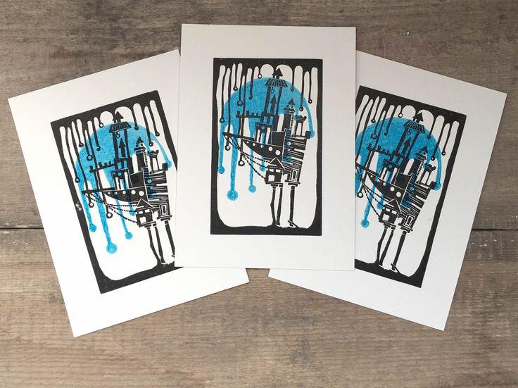 Dream House~Linocut,Linoprint,Print,House print,Stars,Letterpress,Card,Printmaking,Blue,Nature by TinyLandme on Etsy