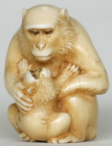 Katabori netsuke are carved completely in three dimensions, the carving detailing   each part of the figure or subject.  These are particularly collectible because of their detail and sculptural quality