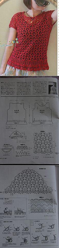 Vară bluza modele de croșetat simple.