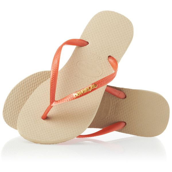 Havaianas Slim Logo Metallic Flip Flops Sand Grey/Light Golden ($39) ❤ liked on Polyvore