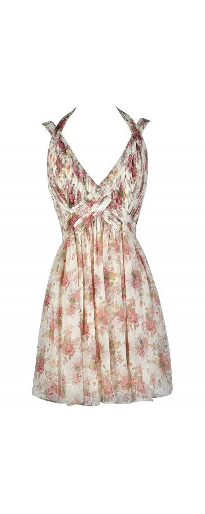 Blooming Bouquet Pink and Ivory Floral Print Dress  www.lilyboutique.com