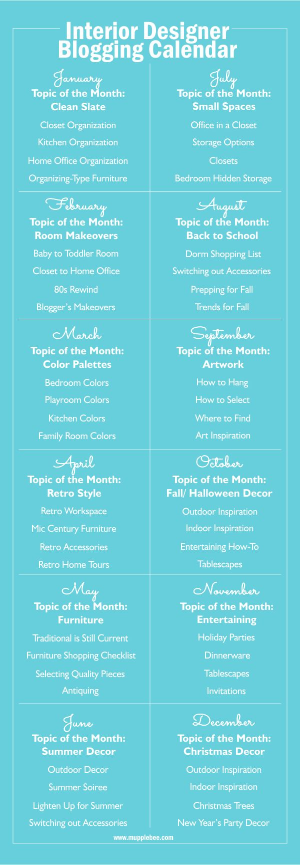 Interior Design Editorial Blogging Calendar