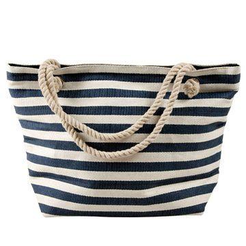 White Colour PVC Women Beach Bag with Navy Stripes