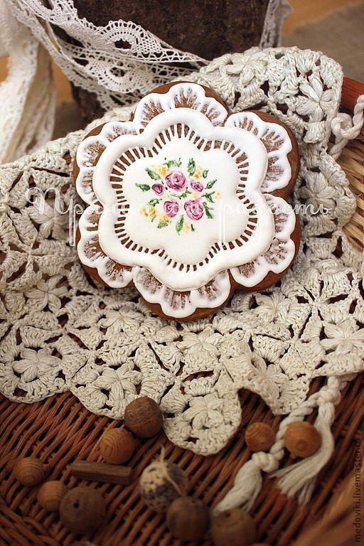 Купить Пряничные кружевные салфетки - русский узор, салфетка, кружево, пряник, пряник расписной