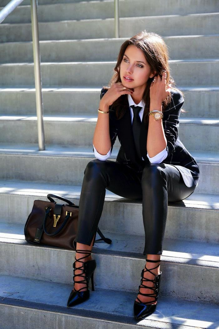 Street style | Edgy black leather pants; Tips; Guide; Top; Blouse; Shirt; Button down; Long sleeve; Rolled; Collar; Tie; Black: Blazer; Checkered; Patterned; Pattern; Skinny; Pants; Leather; Trouser; Shoes; Heels; Pumps; Close toed; Caged; Strappy; Watch; Gold; Bangle; Multiple; Ring; Stacked; Earring; Stud; Nail; Red; Burgundy; Maroon; Purse; Handbag; Brown; Chocolate; Deep; Dark; Spring; Fall; Autumn; P263