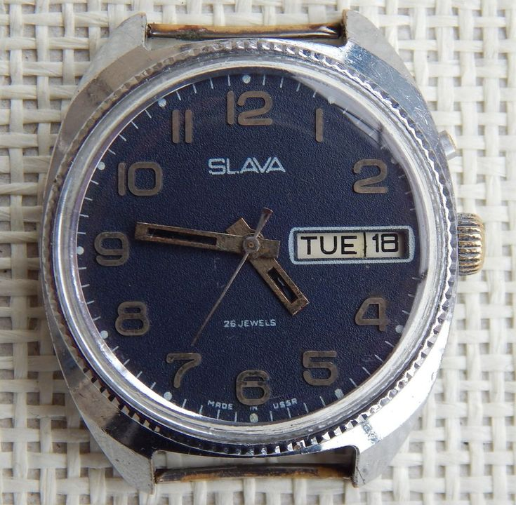 USSR Russian mechanical watch Slava with calendars, made 1978-85 years. #Slava #Military