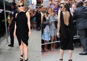 While in New York City, Lady Gaga dared to don a little black dress -- a wardrobe staple for women everywhere. But while the seemingly simple frock appeared all business from the front, the 27-year-old turned around to reveal a plunging back and teetering lucite heels. This IS Gaga we're talking about, after all.