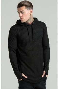 SikSilk - Rib Knit Curved Hem Hoodie - Black | Give your off duty style a more premium edge with this lush hoodie from Sik Silk. Available Now @ Urban Celebrity!