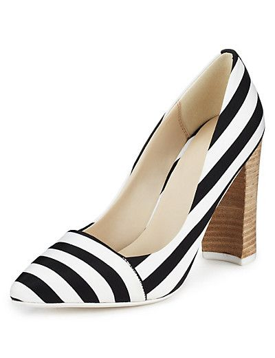 Angular Block Heel Striped Court Shoes with Insolia® | M&S