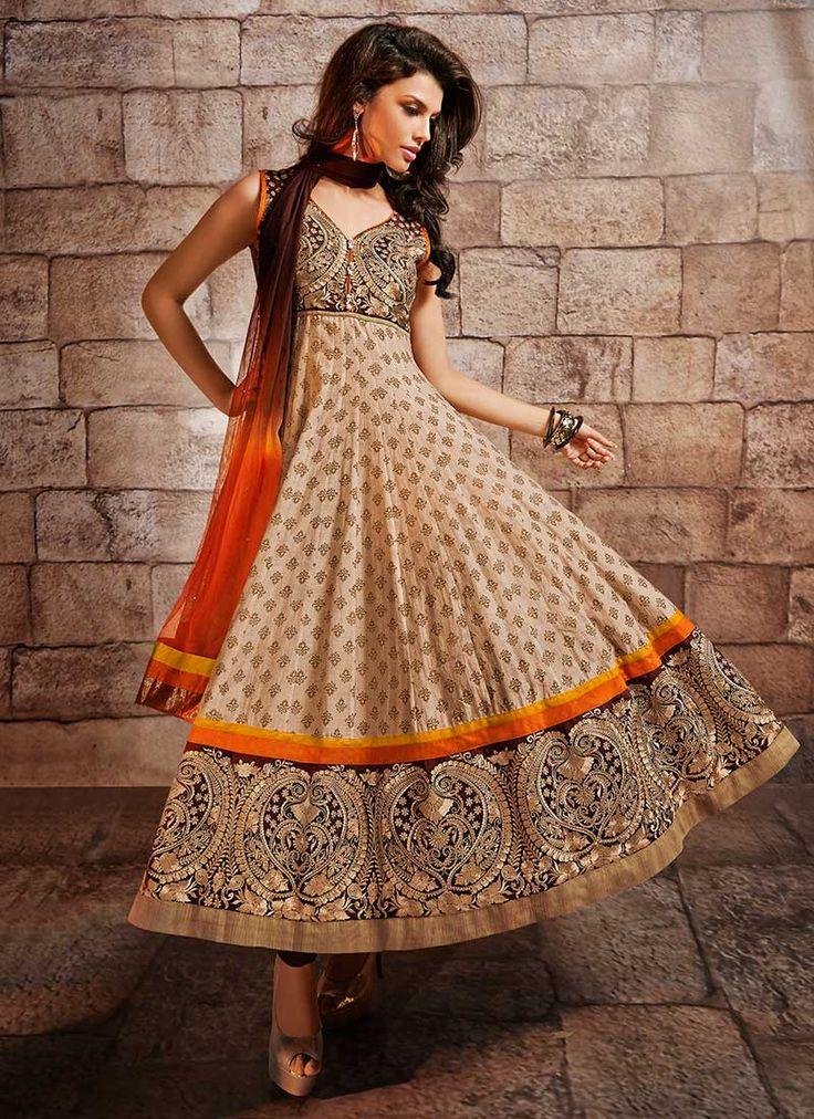 Beige Chanderi Silk #Anarkali Suit