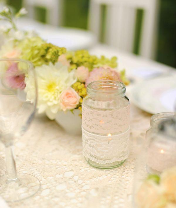 #flowers #table #mason jar #lace