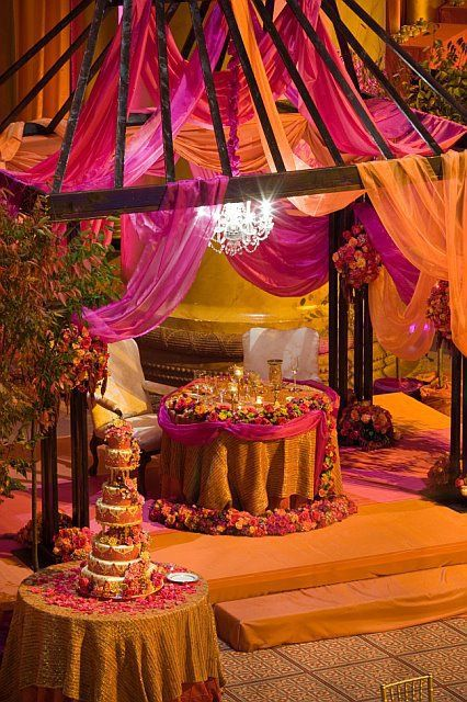 Love the sweetheart table under the mandap!