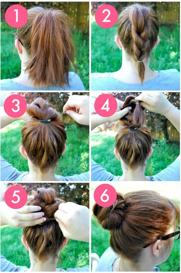 The Knot-So-Braided Bun | 23 Five-Minute Hairstyles For Busy Mornings # hairstyles tutorial #hairstyle DIY #easyhair #fashion #beauty #hairstyle #hair