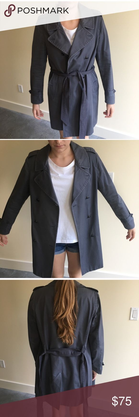 "Rag & Bone Washed trench coat Authentic. Worn but in great condition. The belt is not original, it was made by a seamstress and photos are shown. Great for casual wear or can be dressed up. This coat is way too big on me in the photos but I just wanted to give an idea of the shape. I'm 5'6"" and rough 125 lbs, I would typically wear a size 2/4. rag & bone Jackets & Coats Trench Coats"