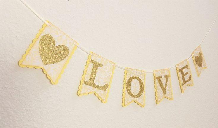 Wedding Love Banner Gold Glitter Photo Prop Garland Bridal Shower Hearts Yellow #Wedding