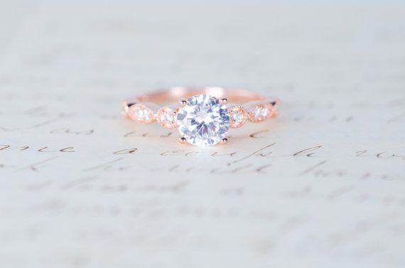 rose gold art deco promise ring