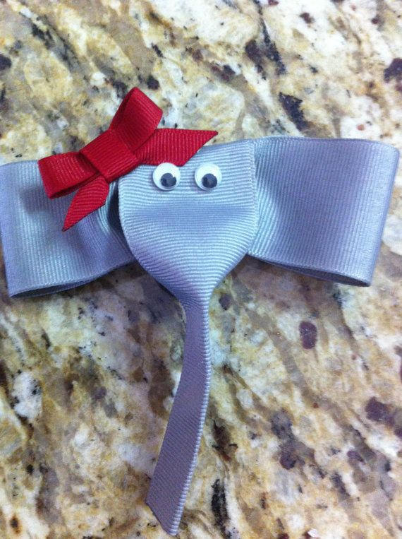 Elephant ribbon hair clip by kidsinacandyshop on Etsy, $5.00
