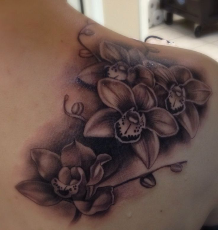 Orchid tattoo, my wedding flower with cala lillies