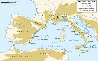 Il percorso di Annibale durante la II guerra punica
