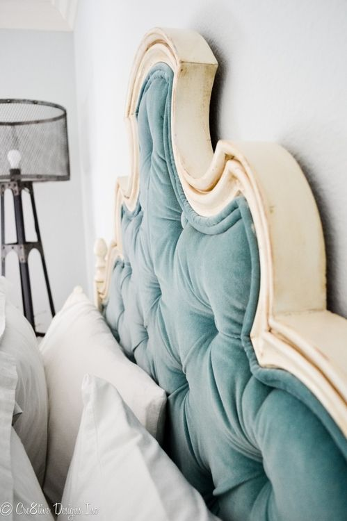 DIY headboard using staple gun and glue!