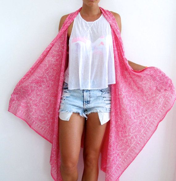 Hot Pink Fern Print Kimono - Pink Beach Dress or Sarong, Long Cape Kimono Jacket - Sleeveless Robe, Free Size - Festival Jacket on Etsy, $39.00