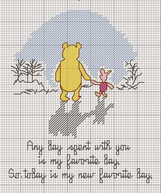 Pooh and Piglet | Quote | Today is my new favorite day | Counted Cross stitch | Color Country Scraps