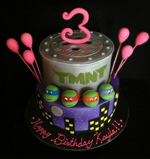 Teenage Mutant Ninja Turtles Cake I made for a little girl named Kayla who was turning 3 years old! She is a BIG BIG fan of the Ninja Turtles! had to make it a bit girly!! :)