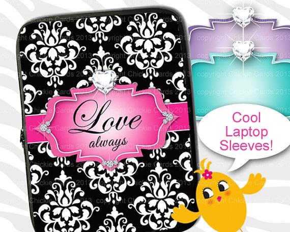 Laptop Sleeve 13 Mac / Macbook Damask Jewelry Love by ChickieCards, $34.98