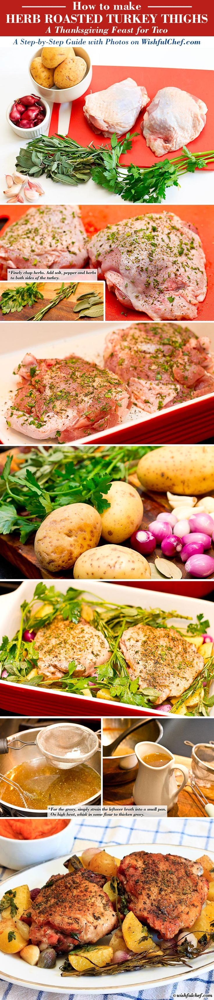 Herb Roasted Turkey Thighs  - A Thanksgiving Feast for Two // wishfulchef.com