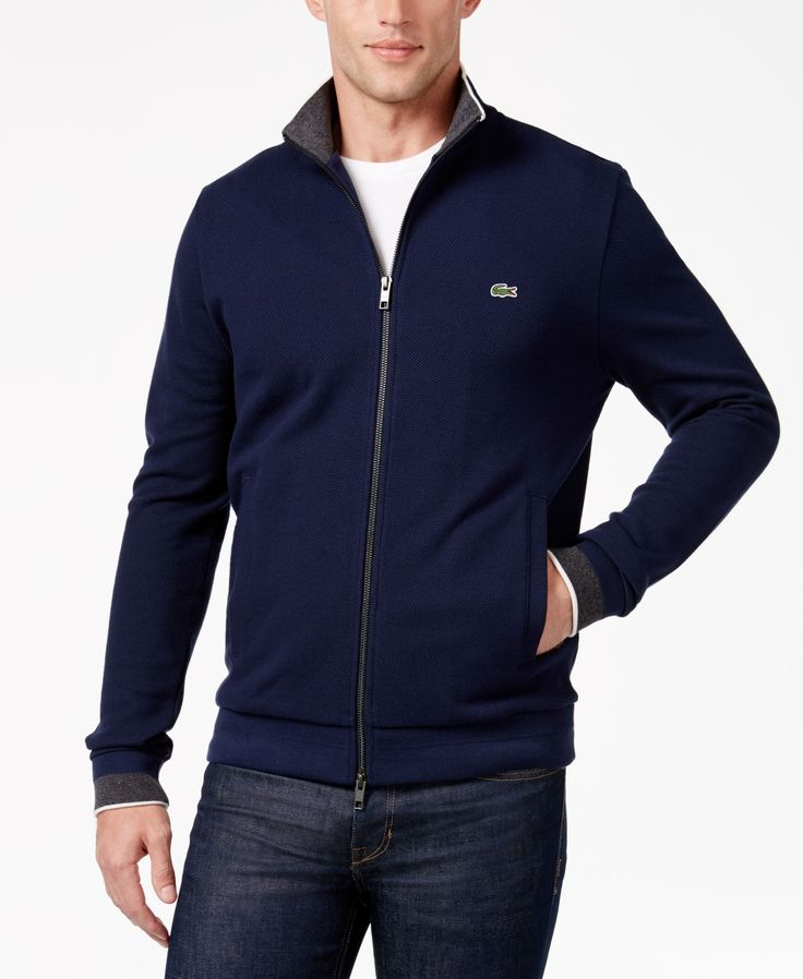 Lacoste Men's Contrast-Trim Zip-Front Sweatshirt